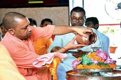 CM Yogi Adityanath performs Rudrabhishek at Gorakhnath temple