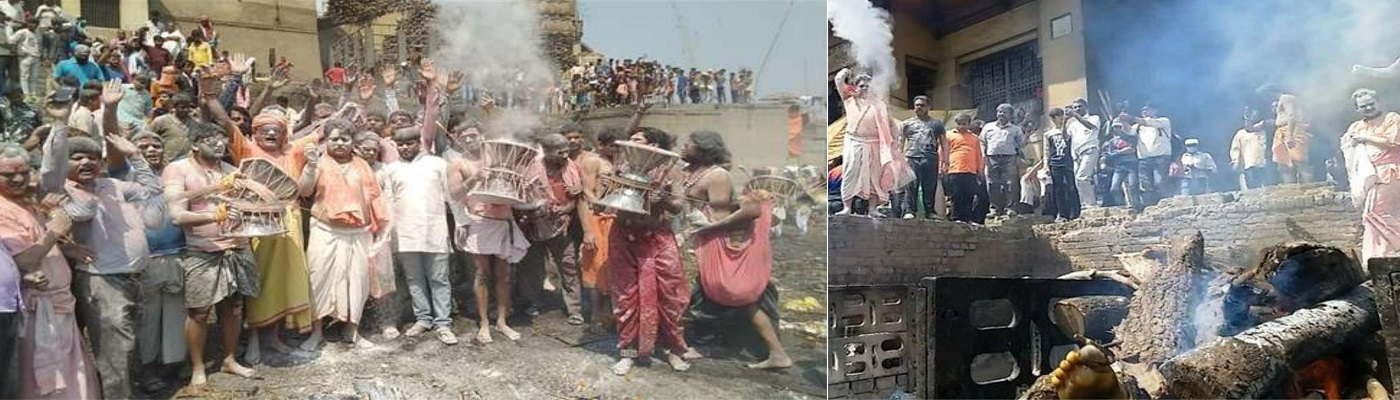 Logs made of cow dung and sawdust to be used in pyres at Varanasi