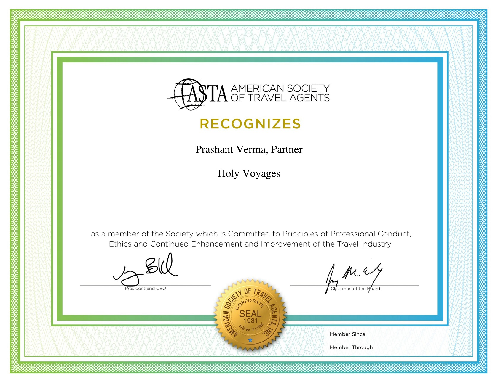 American Society of Travel Agent Holy Voyages