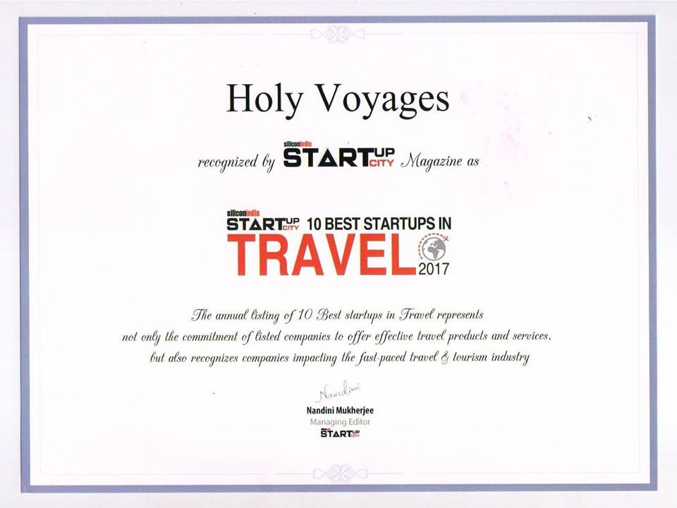 Holy Voyages Silicon India Certificate