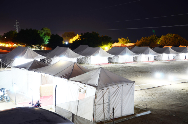 Tent House Room at Night in Haridwar